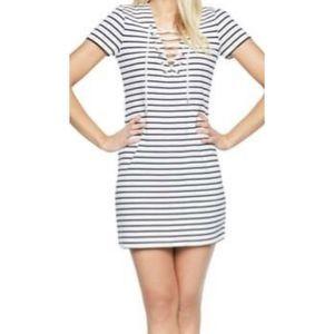 Bardot dress white black lace up striped Large